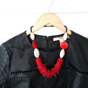Vintage Wood Bead & Shell Statement Necklace